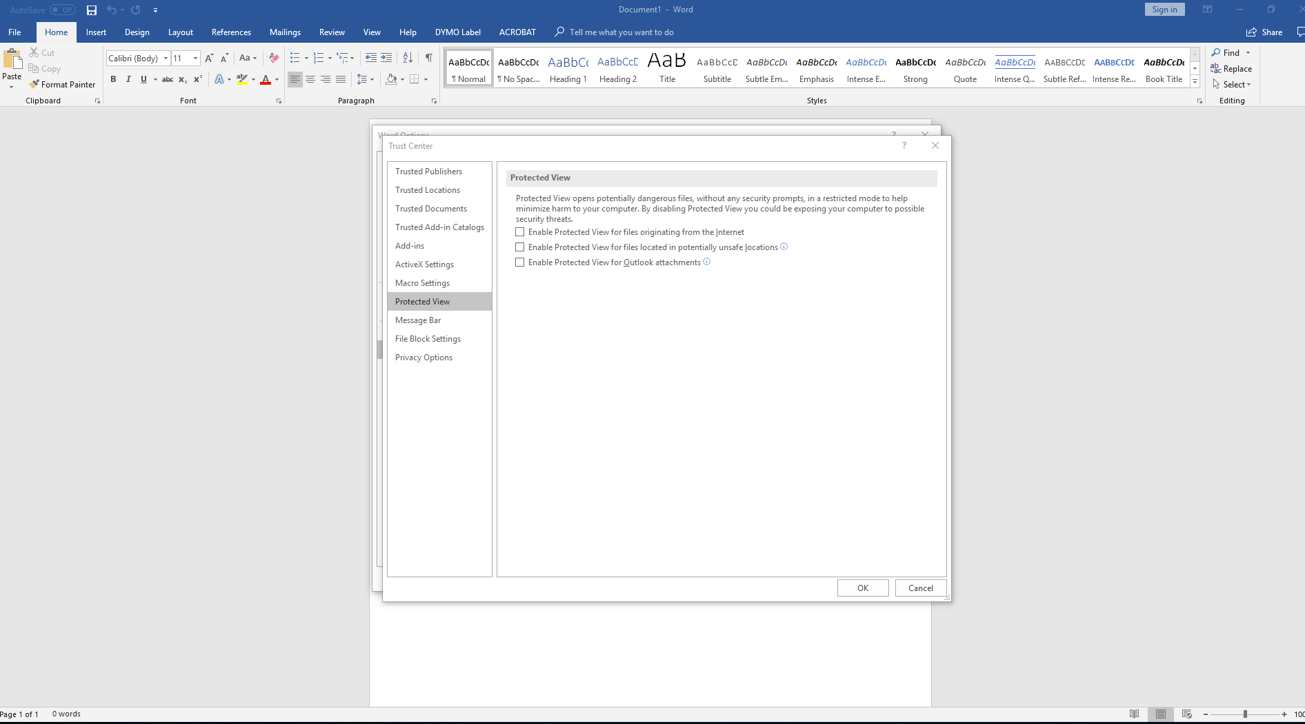 ms excel 2013 protected view